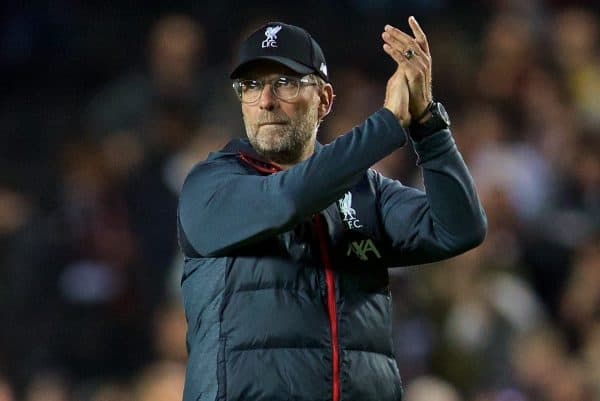 MILTON KEYNES, ENGLAND - Wednesday, September 25, 2019: Liverpool's manager Jürgen Klopp applauds the travelling supporters after the Football League Cup 3rd Round match between MK Dons FC and Liverpool FC at Stadium MK. Liverpool won 2-0. (Pic by David Rawcliffe/Propaganda)