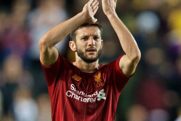 MILTON KEYNES, ENGLAND - Wednesday, September 25, 2019: Liverpool's Adam Lallana applauds the travelling supporters after the Football League Cup 3rd Round match between MK Dons FC and Liverpool FC at Stadium MK. Liverpool won 2-0. (Pic by David Rawcliffe/Propaganda)