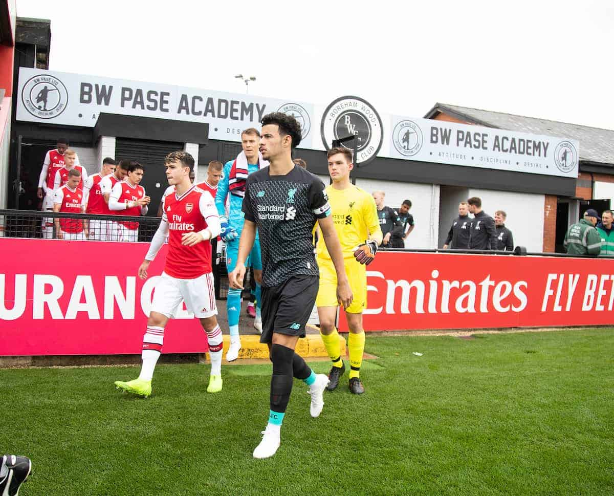 BOREHAMWOOD, ENGLAND - Saturday, September 28, 2019: Liverpool's Curtis Jones leads out the team during the Under-23 FA Premier League 2 Division 1 match between Arsenal FC and Liverpool FC at Meadow Park. (Pic by Kunjan Malde/Propaganda)