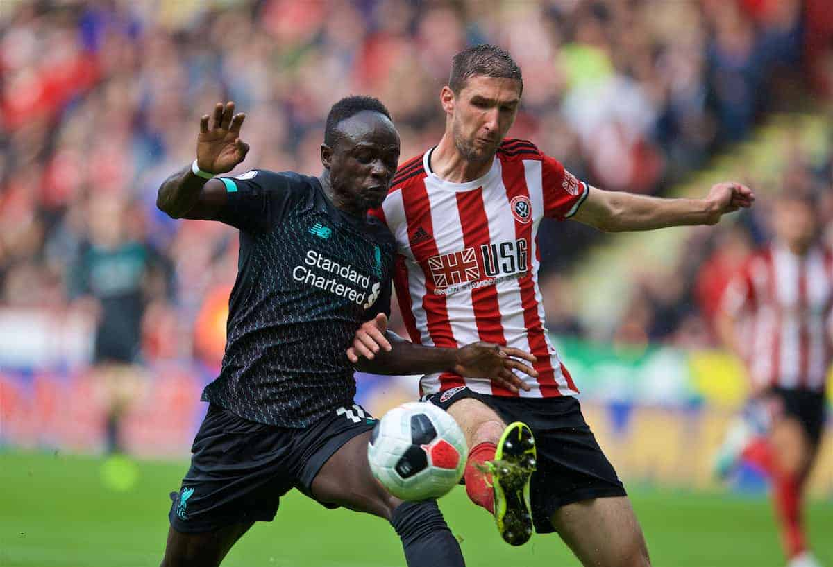SHEFFIELD, ENGLAND - Thursday, September 26, 2019: Liverpool's Sadio Mane (L) and Sheffield United's Chris Basham during the FA Premier League match between Sheffield United FC and Liverpool FC at Bramall Lane. (Pic by David Rawcliffe/Propaganda)