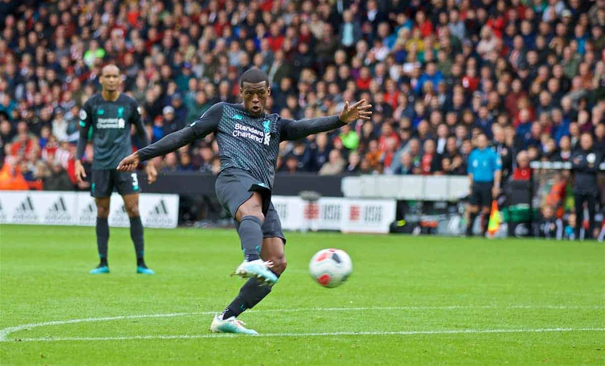 SHEFFIELD, ENGLAND - Thursday, September 26, 2019: Liverpool's Georginio Wijnaldum scores the first goal during the FA Premier League match between Sheffield United FC and Liverpool FC at Bramall Lane. (Pic by David Rawcliffe/Propaganda)