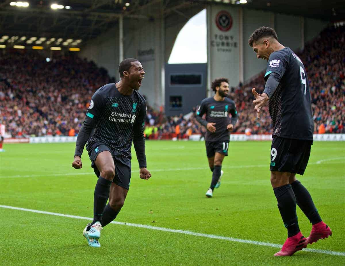 SHEFFIELD, ENGLAND - Thursday, September 26, 2019: Liverpool's Georginio Wijnaldum celebrates scoring the first goal during the FA Premier League match between Sheffield United FC and Liverpool FC at Bramall Lane. (Pic by David Rawcliffe/Propaganda)