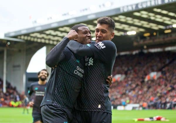 SHEFFIELD, ENGLAND - Thursday, September 26, 2019: Liverpool's Georginio Wijnaldum celebrates scoring the first goal with team-mate Roberto Firmino during the FA Premier League match between Sheffield United FC and Liverpool FC at Bramall Lane. (Pic by David Rawcliffe/Propaganda)