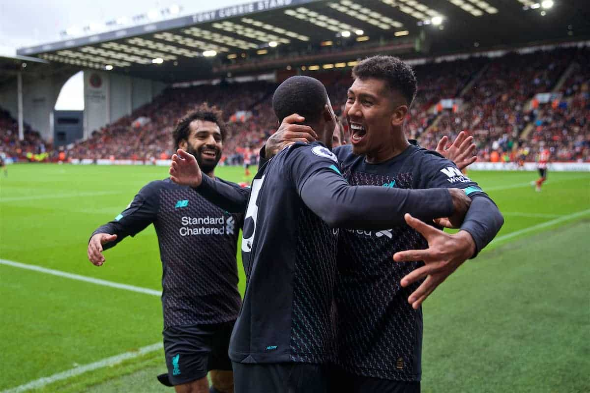 SHEFFIELD, ENGLAND - Thursday, September 26, 2019: Liverpool's Georginio Wijnaldum (C) celebrates scoring the only goal of the game with team-mate Roberto Firmino (R) during the FA Premier League match between Sheffield United FC and Liverpool FC at Bramall Lane. Liverpool won 1-0. (Pic by David Rawcliffe/Propaganda)