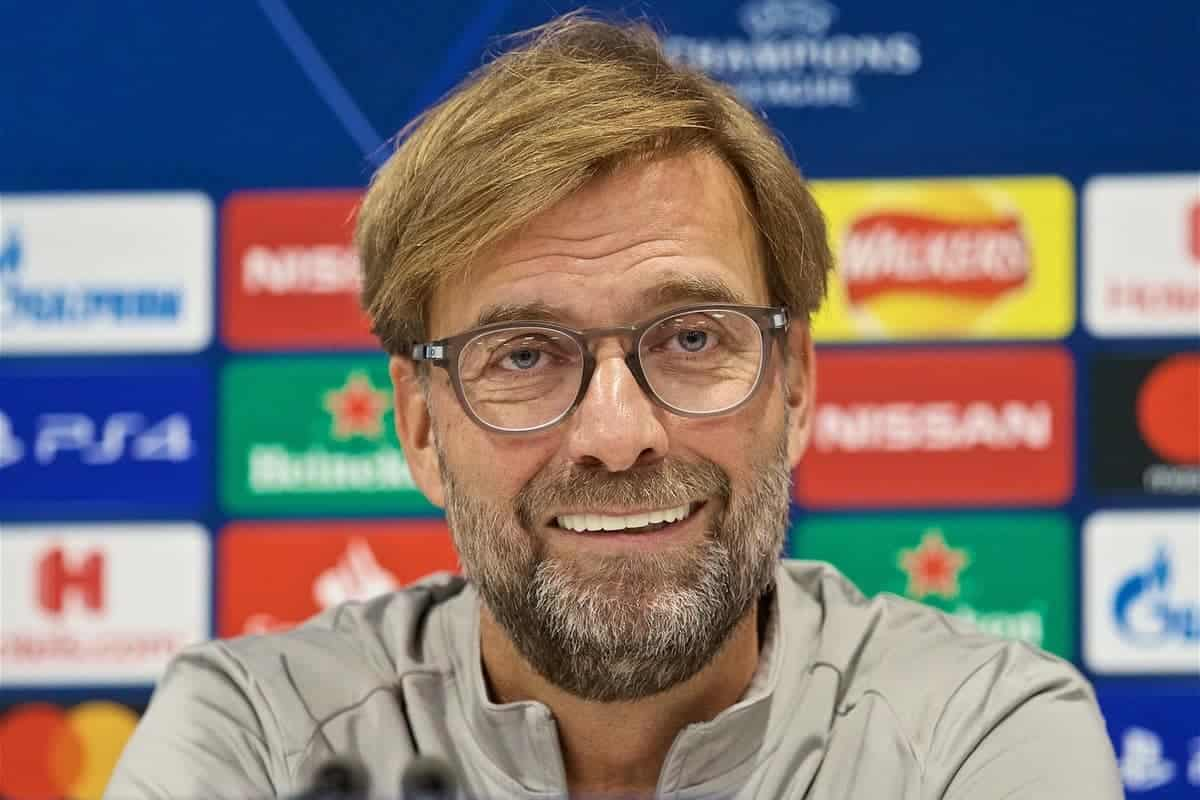 LIVERPOOL, ENGLAND - Tuesday, October 1, 2019: Liverpool's manager Jürgen Klopp during a press conference at Anfield ahead of the UEFA Champions League Group E match between Liverpool FC and FC Salzburg. (Pic by David Rawcliffe/Propaganda)