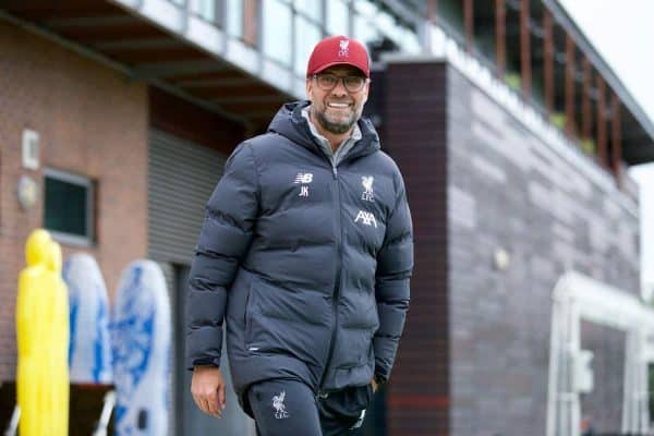 LIVERPOOL, ENGLAND - Tuesday, October 1, 2019: Liverpool's manager Jürgen Klopp during a training session at Melwood Training Ground ahead of the UEFA Champions League Group E match between Liverpool FC and FC Salzburg. (Pic by David Rawcliffe/Propaganda)