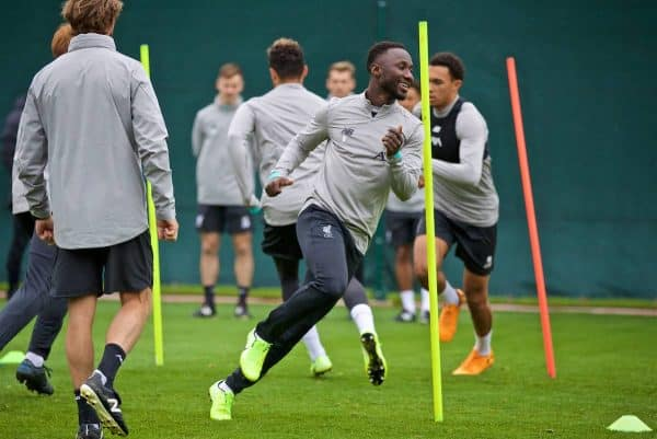 LIVERPOOL, ENGLAND - Tuesday, October 1, 2019: Liverpool's Naby Keita during a training session at Melwood Training Ground ahead of the UEFA Champions League Group E match between Liverpool FC and FC Salzburg. (Pic by David Rawcliffe/Propaganda)