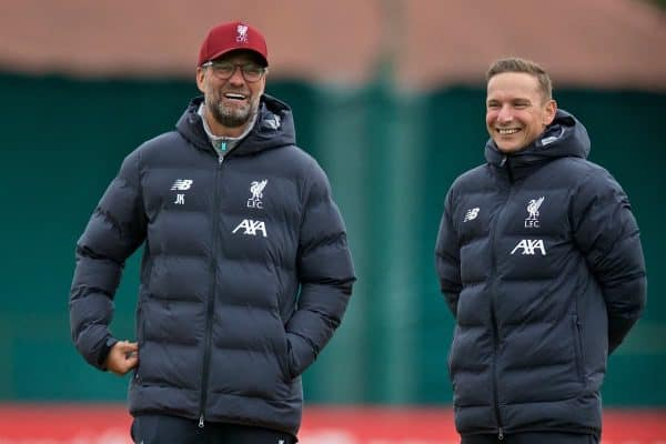 LIVERPOOL, ENGLAND - Tuesday, October 1, 2019: Liverpool's manager Jürgen Klopp (L) and first-team development coach Pepijn Lijnders during a training session at Melwood Training Ground ahead of the UEFA Champions League Group E match between Liverpool FC and FC Salzburg. (Pic by David Rawcliffe/Propaganda)