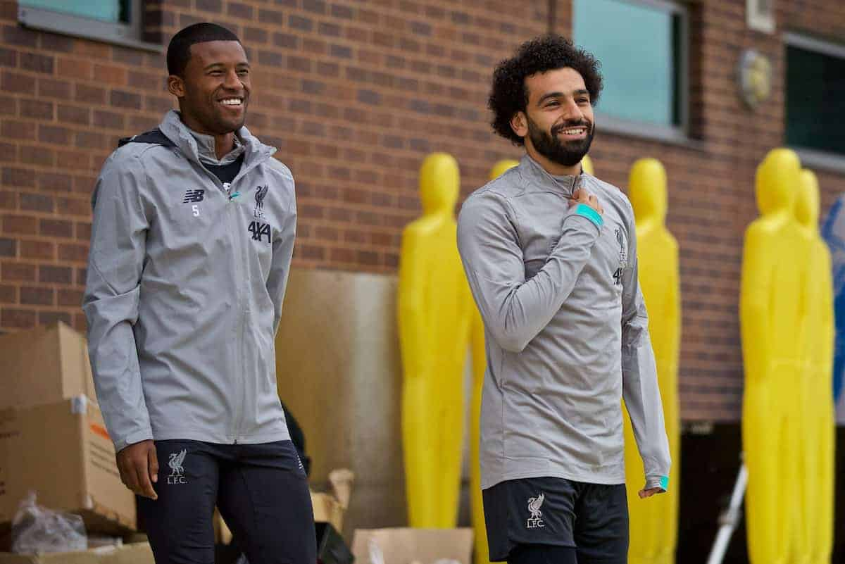 LIVERPOOL, ENGLAND - Tuesday, October 1, 2019: Liverpool's Georginio Wijnaldum (L) and Mohamed Salah during a training session at Melwood Training Ground ahead of the UEFA Champions League Group E match between Liverpool FC and FC Salzburg. (Pic by David Rawcliffe/Propaganda)