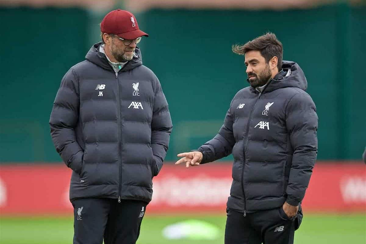LIVERPOOL, ENGLAND - Tuesday, October 1, 2019: Liverpool's manager Jürgen Klopp (L) with new coach Vitor Matos during a training session at Melwood Training Ground ahead of the UEFA Champions League Group E match between Liverpool FC and FC Salzburg. (Pic by David Rawcliffe/Propaganda)
