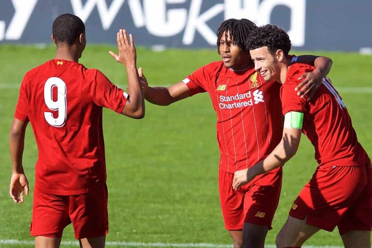 ST HELENS, ENGLAND - Wednesday, October 2, 2019: Liverpool's Yasser Larouci (C) celebrates scoring the first goal during the UEFA Youth League Group E match between Liverpool FC Under-19's and FC Salzburg Under-19's at Langtree Park. (Pic by David Rawcliffe/Propaganda)