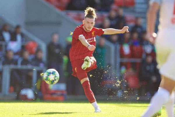 ST HELENS, ENGLAND - Wednesday, October 2, 2019: Liverpool's Harvey Elliott during the UEFA Youth League Group E match between Liverpool FC Under-19's and FC Salzburg Under-19's at Langtree Park. (Pic by David Rawcliffe/Propaganda)