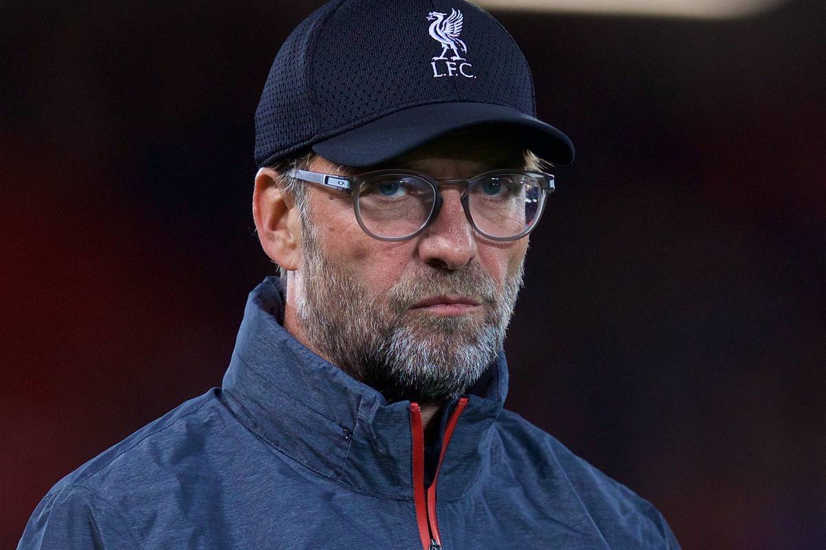 LIVERPOOL, ENGLAND - Wednesday, October 2, 2019: Liverpool's manager Jürgen Klopp during the pre-match warm-up before the UEFA Champions League Group E match between Liverpool FC and FC Salzburg at Anfield. (Pic by David Rawcliffe/Propaganda)