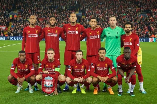 LIVERPOOL, ENGLAND - Wednesday, October 2, 2019: Liverpool players line-up for a team group photograph before the UEFA Champions League Group E match between Liverpool FC and FC Salzburg at Anfield. Back row L-R: Fabio Henrique Tavares 'Fabinho', Joe Gomez, Virgil van Dijk, Roberto Firmino, goalkeeper Adrián San Miguel del Castillo, Mohamed Salah. Front row L-R: Georginio Wijnaldum, captain Jordan Henderson, Andy Robertson, Trent Alexander-Arnold, Sadio Mane. (Pic by David Rawcliffe/Propaganda)