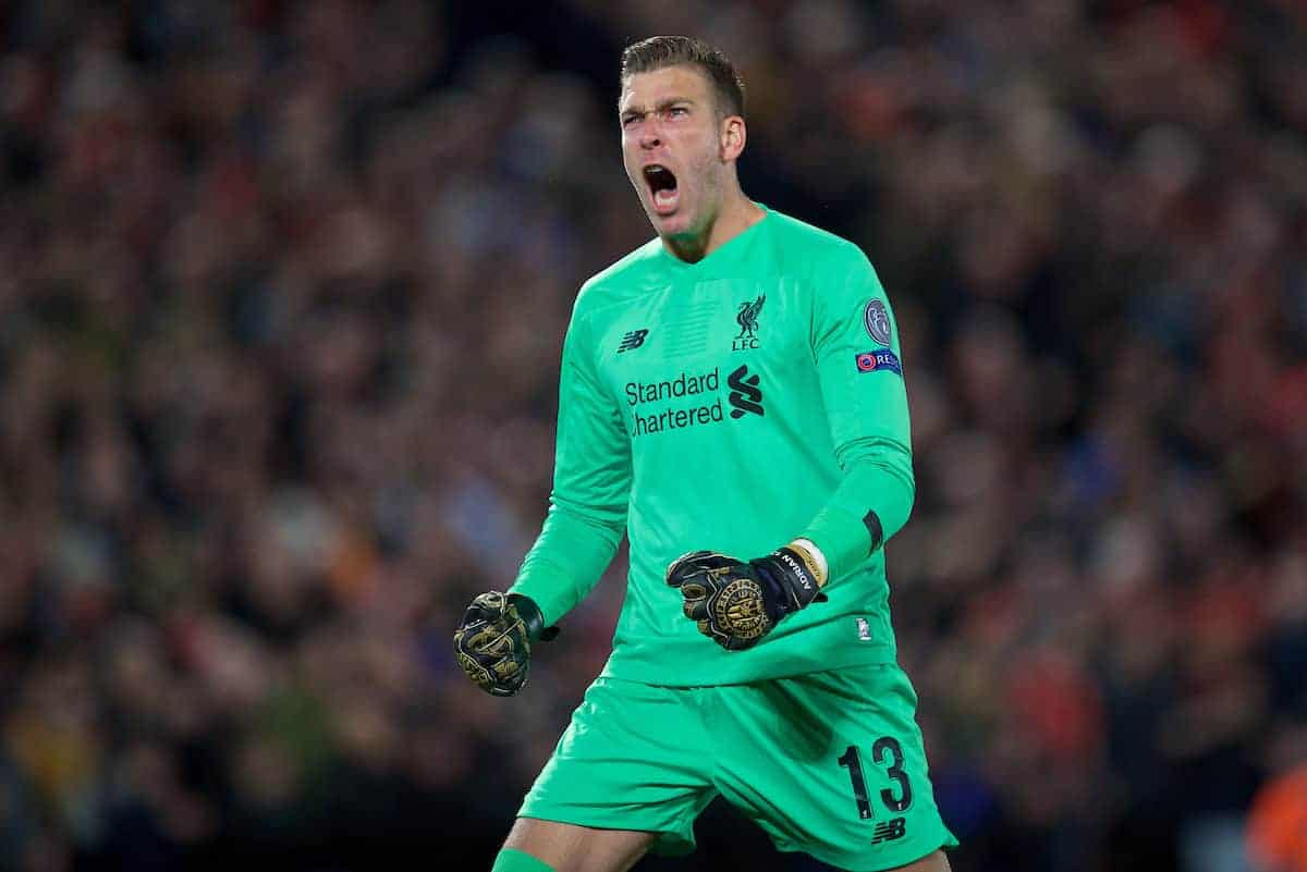 LIVERPOOL, ENGLAND - Wednesday, October 2, 2019: Liverpool's goalkeeper Adrián San Miguel del Castillo celebrates after the opening goal during the UEFA Champions League Group E match between Liverpool FC and FC Salzburg at Anfield. (Pic by David Rawcliffe/Propaganda)