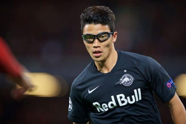 LIVERPOOL, ENGLAND - Wednesday, October 2, 2019: FC Salzburg's Hee-Chan Hwang wearing protective eye goggles during the UEFA Champions League Group E match between Liverpool FC and FC Salzburg at Anfield. (Pic by David Rawcliffe/Propaganda)