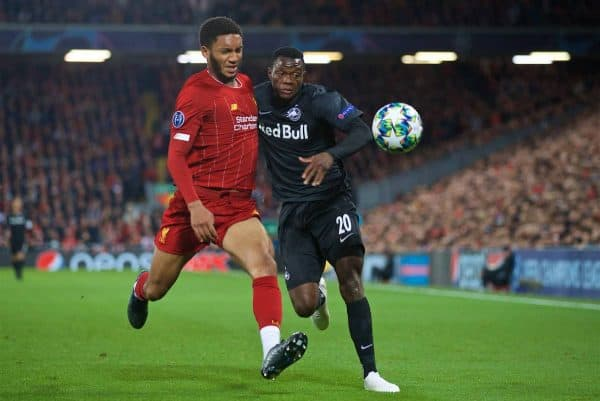 LIVERPOOL, ENGLAND - Wednesday, October 2, 2019: Liverpool's Joe Gomez (L) tackles FC Salzburg's Patson Daka during the UEFA Champions League Group E match between Liverpool FC and FC Salzburg at Anfield. (Pic by David Rawcliffe/Propaganda)