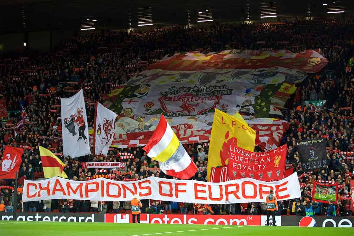 "LIVERPOOL, ENGLAND - Wednesday, October 2, 2019: Liverpool supporters on the Spion Kop with a banner ""Champions of Europe"" during the UEFA Champions League Group E match between Liverpool FC and FC Salzburg at Anfield. (Pic by David Rawcliffe/Propaganda)"