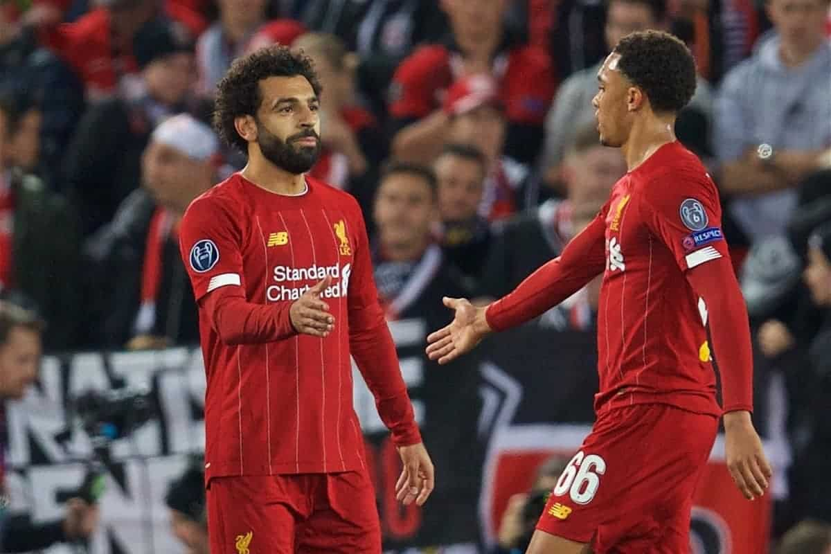 LIVERPOOL, ENGLAND - Wednesday, October 2, 2019: Liverpool's Mohamed Salah (L) celebrates scoring the third goal with team-mate Trent Alexander-Arnold during the UEFA Champions League Group E match between Liverpool FC and FC Salzburg at Anfield. (Pic by David Rawcliffe/Propaganda)