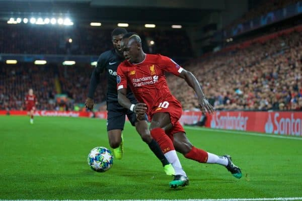 LIVERPOOL, ENGLAND - Wednesday, October 2, 2019: Liverpool's Sadio Mane (R) and FC Salzburg's Jérôme Onguéné during the UEFA Champions League Group E match between Liverpool FC and FC Salzburg at Anfield. (Pic by David Rawcliffe/Propaganda)