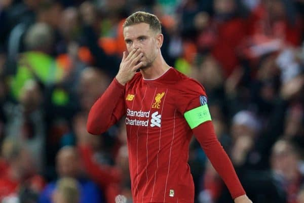 LIVERPOOL, ENGLAND - Wednesday, October 2, 2019: Liverpool's captain Jordan Henderson looks dejected as FC Salzburg score a third goal to equalise and level the score at 3-3 during the UEFA Champions League Group E match between Liverpool FC and FC Salzburg at Anfield. (Pic by David Rawcliffe/Propaganda)