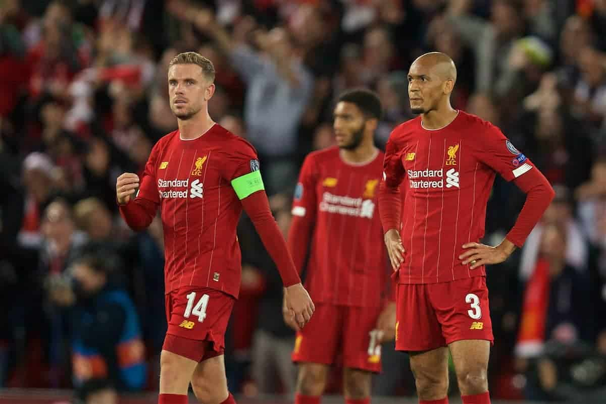 LIVERPOOL, ENGLAND - Wednesday, October 2, 2019: Liverpool's captain Jordan Henderson (L) and Fabio Henrique Tavares 'Fabinho' look dejected as FC Salzburg score a third goal to equalise and level the score at 3-3 during the UEFA Champions League Group E match between Liverpool FC and FC Salzburg at Anfield. (Pic by David Rawcliffe/Propaganda)