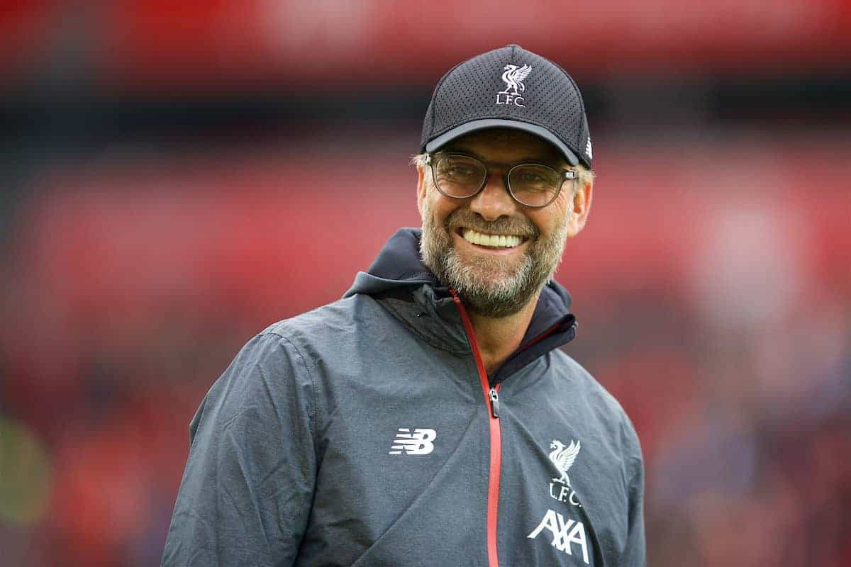 LIVERPOOL, ENGLAND - Saturday, October 5, 2019: Liverpool's manager Jürgen Klopp during the pre-match warm-up before the FA Premier League match between Liverpool FC and Leicester City FC at Anfield. (Pic by David Rawcliffe/Propaganda)