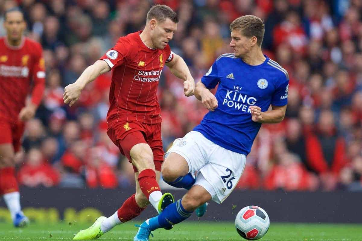 LIVERPOOL, ENGLAND - Saturday, October 5, 2019: Liverpool's James Milner (L) and Leicester City's Dennis Praet during the FA Premier League match between Liverpool FC and Leicester City FC at Anfield. (Pic by David Rawcliffe/Propaganda)