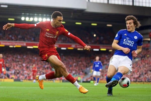 Liverpool's Trent Alexander-Arnold during the FA Premier League match between Liverpool FC and Leicester City FC at Anfield. (Pic by David Rawcliffe/Propaganda)
