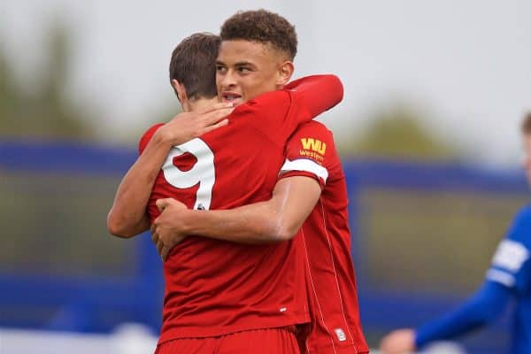Liverpool's captain Fidel O'Rourke (R) celebrates scoring the first goal with team-mate Layton Stewart during the Under-18 FA Premier League match between Everton FC and Liverpool FC at Finch Farm. (Pic by David Rawcliffe/Propaganda)