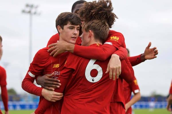 LIVERPOOL, ENGLAND - Saturday, October 5, 2019: Liverpool's Leighton Clarkson (#6) celebrates with team-mate Layton Stewart after forcing the third goal, an own-goal from Everton's Reece Welch, during the Under-18 FA Premier League match between Everton FC and Liverpool FC at Finch Farm. (Pic by David Rawcliffe/Propaganda)