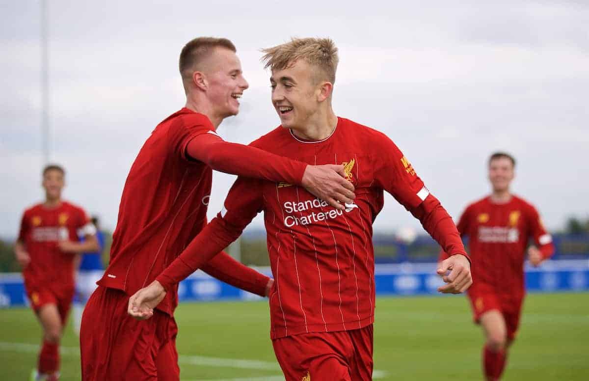 LIVERPOOL, ENGLAND - Saturday, October 5, 2019: Liverpool's Jack Cain (R) celebrates scoring the fourth goal with team-mate Niall Brookwell during the Under-18 FA Premier League match between Everton FC and Liverpool FC at Finch Farm. (Pic by David Rawcliffe/Propaganda)
