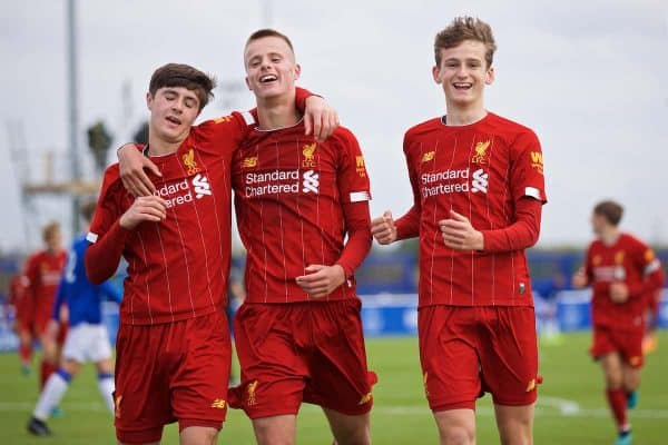 LIVERPOOL, ENGLAND - Saturday, October 5, 2019: Liverpool's substitute Tyler Morton (R) celebrates scoring the sixth goal with team-mates Layton Stewart (L) and Niall Brookwell (C) during the Under-18 FA Premier League match between Everton FC and Liverpool FC at Finch Farm. (Pic by David Rawcliffe/Propaganda)