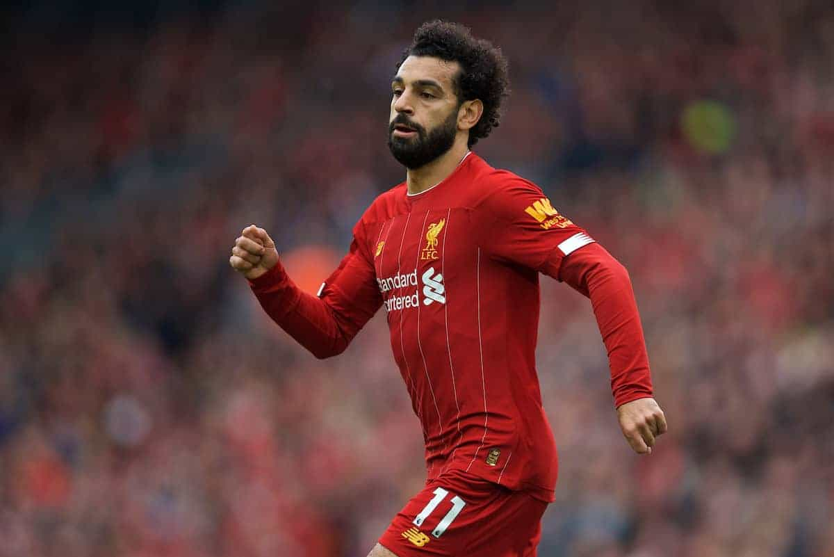 LIVERPOOL, ENGLAND - Saturday, October 5, 2019: Liverpool's Mohamed Salah during the FA Premier League match between Liverpool FC and Leicester City FC at Anfield. (Pic by David Rawcliffe/Propaganda)