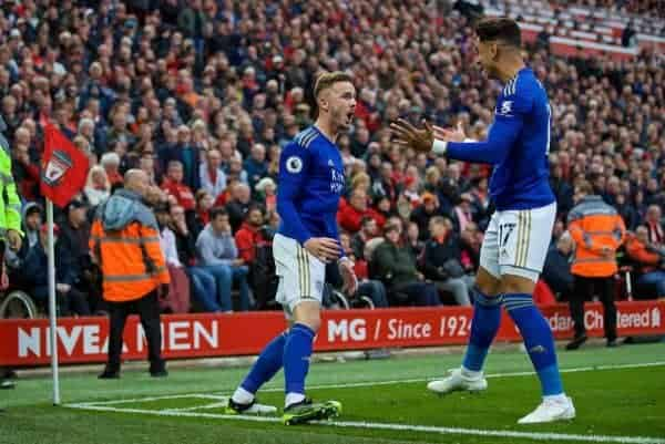 LIVERPOOL, ENGLAND - Saturday, October 5, 2019: Leicester City's James Maddison celebrates scoring the first equalising goal with team-mate Ayoze Pérez during the FA Premier League match between Liverpool FC and Leicester City FC at Anfield. (Pic by David Rawcliffe/Propaganda)