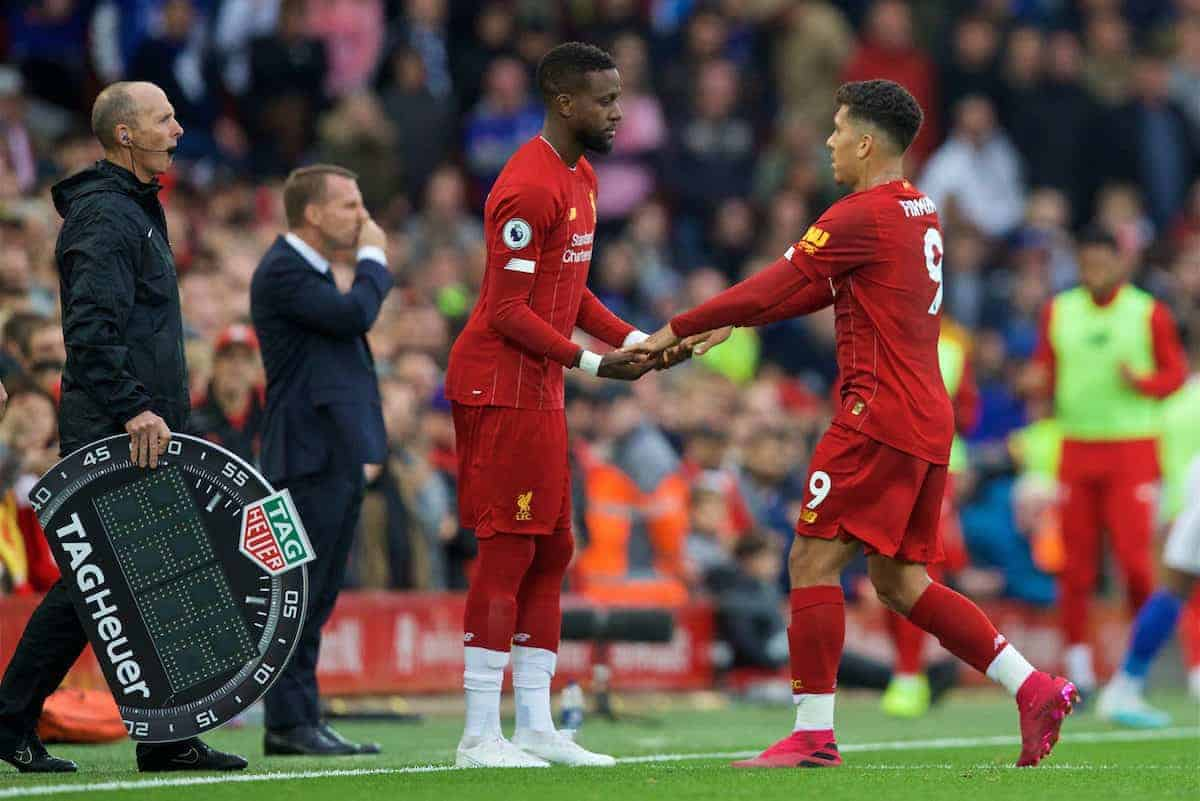 LIVERPOOL, ENGLAND - Saturday, October 5, 2019: Liverpool's Roberto Firmino is substituted for Divock Origi during the FA Premier League match between Liverpool FC and Leicester City FC at Anfield. (Pic by David Rawcliffe/Propaganda)
