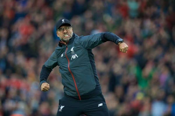 LIVERPOOL, ENGLAND - Saturday, October 5, 2019: Liverpool's manager Jürgen Klopp celebrates in front of the Spion Kop after the FA Premier League match between Liverpool FC and Leicester City FC at Anfield. Liverpool won 2-1. (Pic by David Rawcliffe/Propaganda)