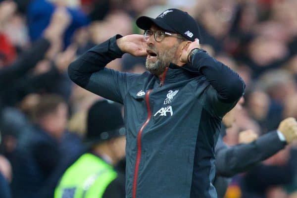 Liverpool's manager Jürgen Klopp celebrates the winning second goal, an injury time penalty, during the FA Premier League match between Liverpool FC and Leicester City FC at Anfield. Liverpool won 2-1. (Pic by David Rawcliffe/Propaganda)