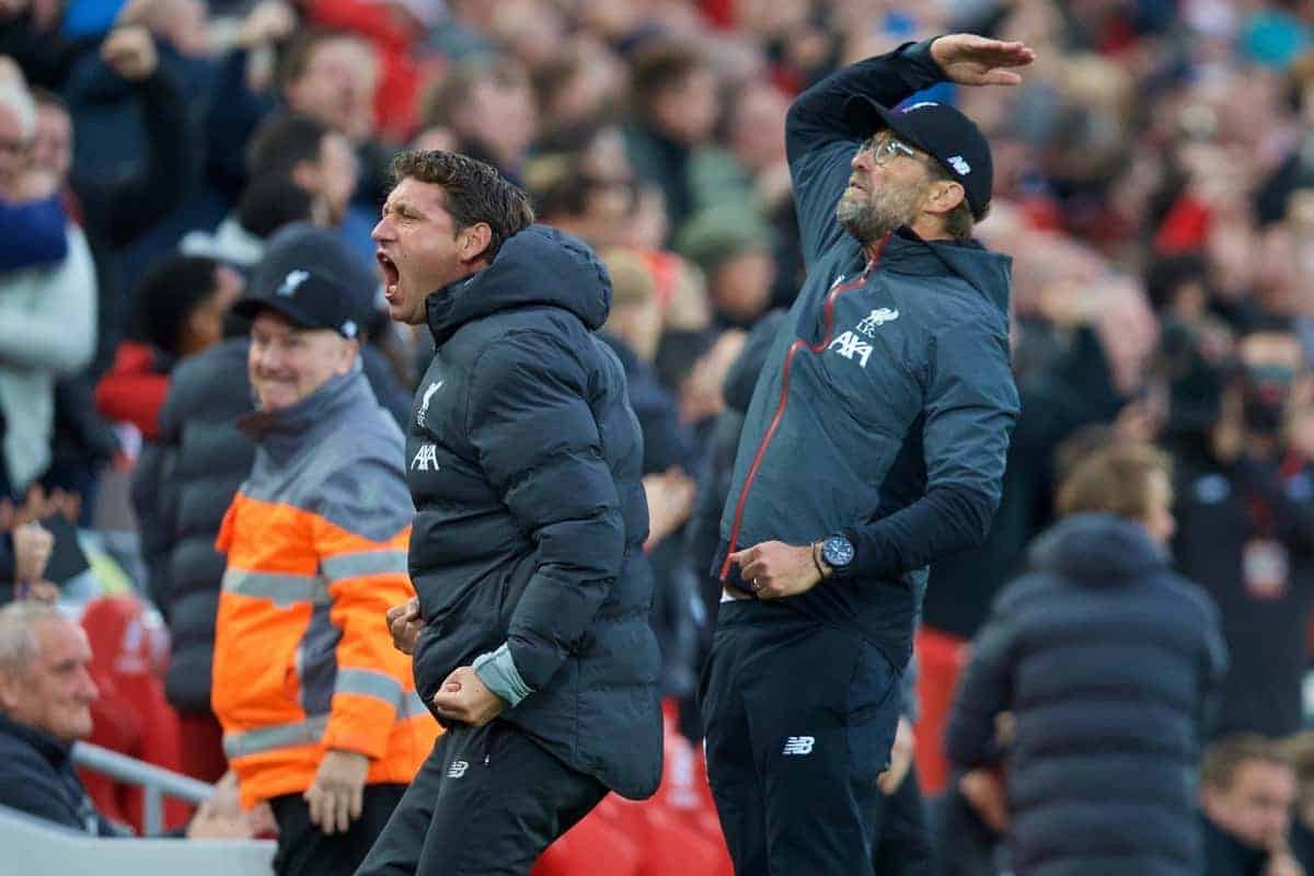 LIVERPOOL, ENGLAND - Saturday, October 5, 2019: Liverpool's manager Jürgen Klopp celebrates the winning second goal, an injury time penalty, during the FA Premier League match between Liverpool FC and Leicester City FC at Anfield. Liverpool won 2-1. (Pic by David Rawcliffe/Propaganda)