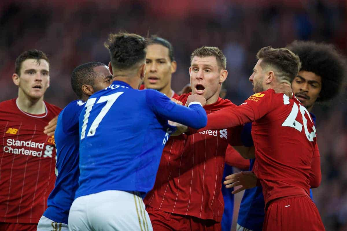 LIVERPOOL, ENGLAND - Saturday, October 5, 2019: Leicester City's Ayoze Pérez clashes with Liverpool's James Milner and Adam Lallana at the final whistle during the FA Premier League match between Liverpool FC and Leicester City FC at Anfield. Liverpool won 2-1. (Pic by David Rawcliffe/Propaganda)