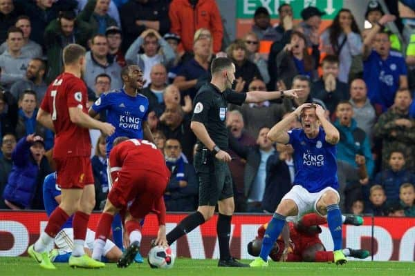 LIVERPOOL, ENGLAND - Saturday, October 5, 2019: Leicester City's Jonny Evans appeals as the referee awards Liverpool an injury time penalty after a foul on Sadio Mane during the FA Premier League match between Liverpool FC and Leicester City FC at Anfield. Liverpool won 2-1. (Pic by David Rawcliffe/Propaganda)