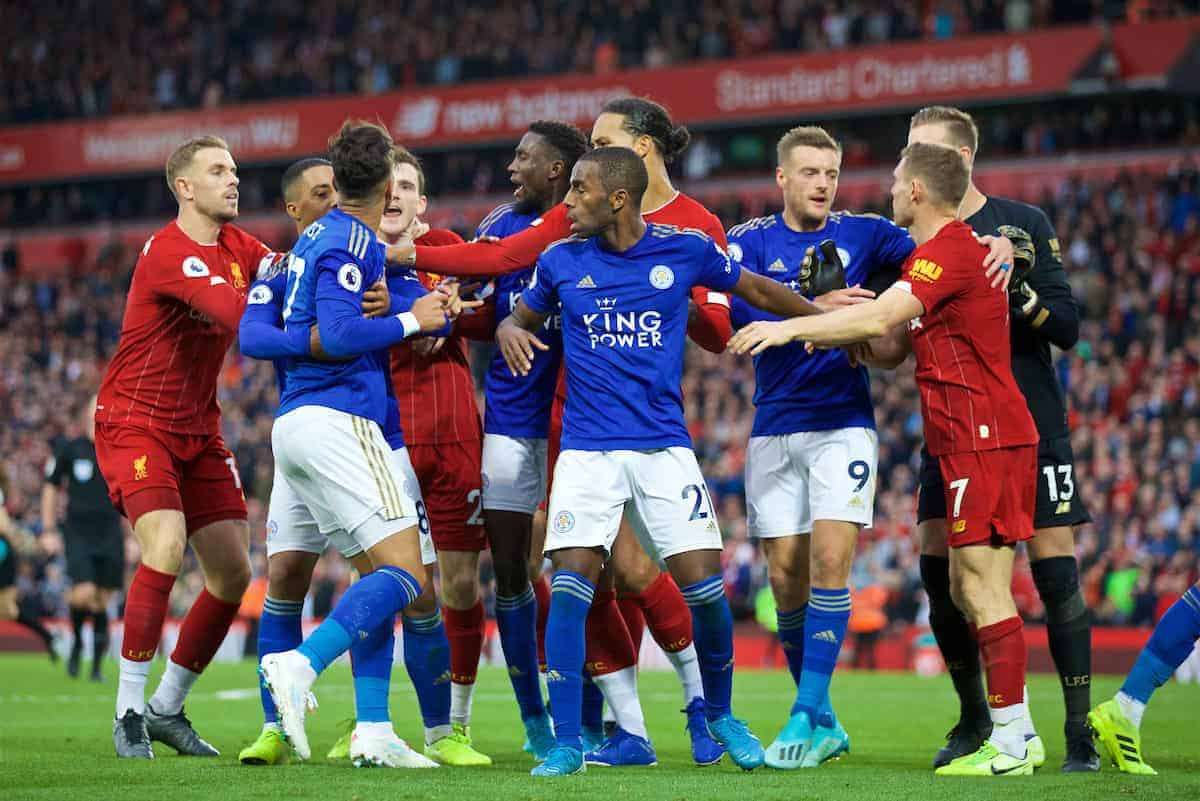 LIVERPOOL, ENGLAND - Saturday, October 5, 2019: Leicester City's Ayoze Pérez clashes with Liverpool players at the final whistle during the FA Premier League match between Liverpool FC and Leicester City FC at Anfield. Liverpool won 2-1. (Pic by David Rawcliffe/Propaganda)