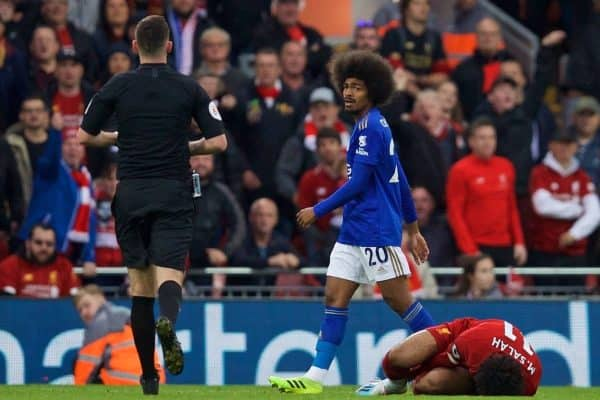 LIVERPOOL, ENGLAND - Saturday, October 5, 2019: Leicester City's Hamza Choudhury is shown a yellow card after a late tackle on Liverpool's Mohamed Salah during the FA Premier League match between Liverpool FC and Leicester City FC at Anfield. (Pic by David Rawcliffe/Propaganda)