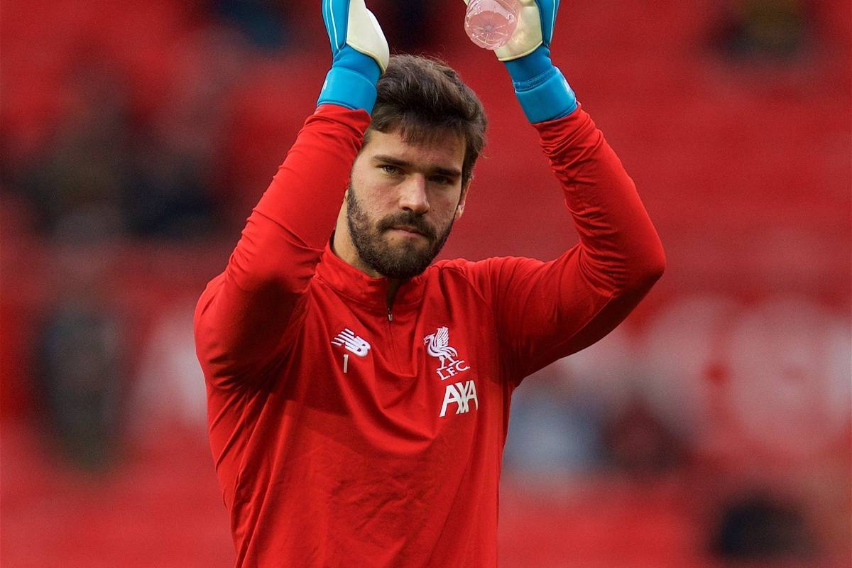 MANCHESTER, ENGLAND - Saturday, October 19, 2019: Liverpool's goalkeeper Alisson Becker during the pre-match warm-up before the FA Premier League match between Manchester United FC and Liverpool FC at Old Trafford. (Pic by David Rawcliffe/Propaganda)