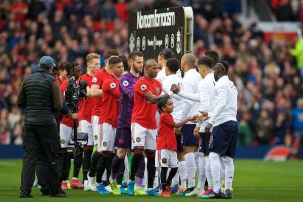 MANCHESTER, ENGLAND - Saturday, October 19, 2019: Manchester United and Liverpool players shake hands before the FA Premier League match between Manchester United FC and Liverpool FC at Old Trafford. (Pic by David Rawcliffe/Propaganda)