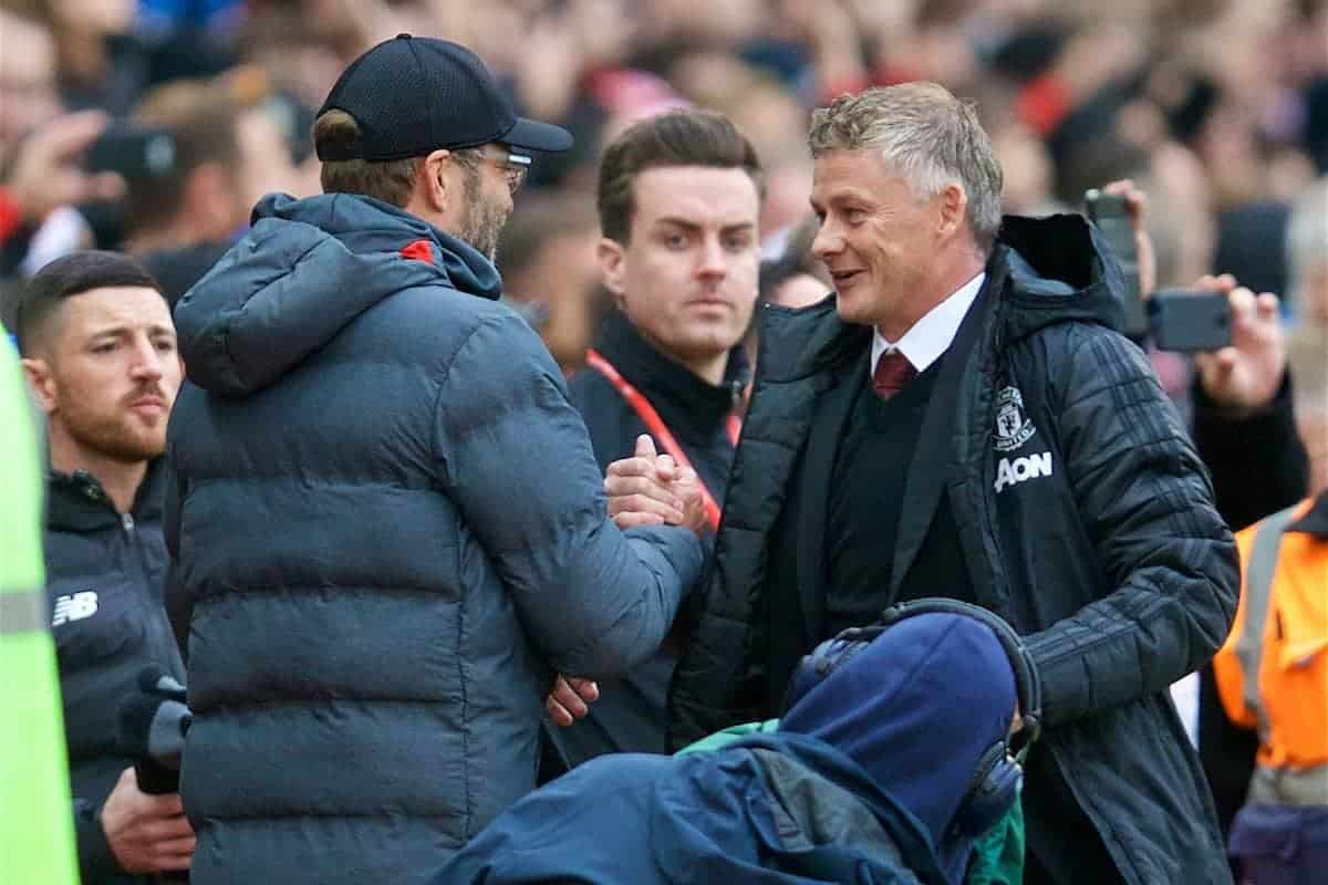 MANCHESTER, ENGLAND - Saturday, October 19, 2019: Liverpool's manager Jürgen Klopp (L) shakes hands with Manchester United's manager Ole Gunnar Solskjær during the FA Premier League match between Manchester United FC and Liverpool FC at Old Trafford. (Pic by David Rawcliffe/Propaganda)