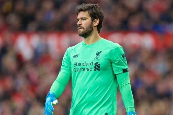 MANCHESTER, ENGLAND - Saturday, October 19, 2019: Liverpool's goalkeeper Alisson Becker during the FA Premier League match between Manchester United FC and Liverpool FC at Old Trafford. (Pic by David Rawcliffe/Propaganda)
