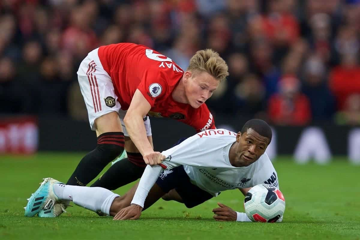 MANCHESTER, ENGLAND - Saturday, October 19, 2019: Manchester United's Scott McTominay (L) and Liverpool's Georginio Wijnaldum during the FA Premier League match between Manchester United FC and Liverpool FC at Old Trafford. (Pic by David Rawcliffe/Propaganda)