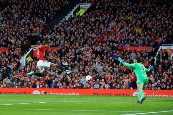 Manchester United's Marcus Rashford scores the first goal during the FA Premier League match between Manchester United FC and Liverpool FC at Old Trafford. (Pic by David Rawcliffe/Propaganda)