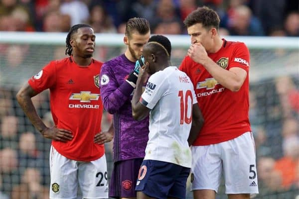 MANCHESTER, ENGLAND - Saturday, October 19, 2019: Manchester United players goalkeeper David de Gea and Harry Maguire rush to tell Liverpool's goalscorer Sadio Mane that his goal was disallowed by VAR during the FA Premier League match between Manchester United FC and Liverpool FC at Old Trafford. (Pic by David Rawcliffe/Propaganda)